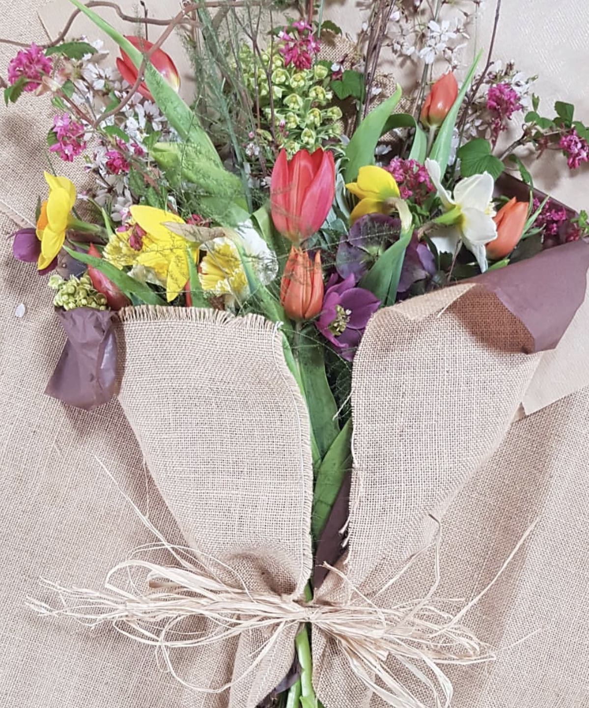 Spring bouquet wrapped in hessian from £25