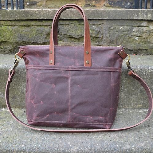 Brown Waxed Canvas Tote Zipper Bag