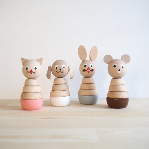 Colorful stackable wooden animals