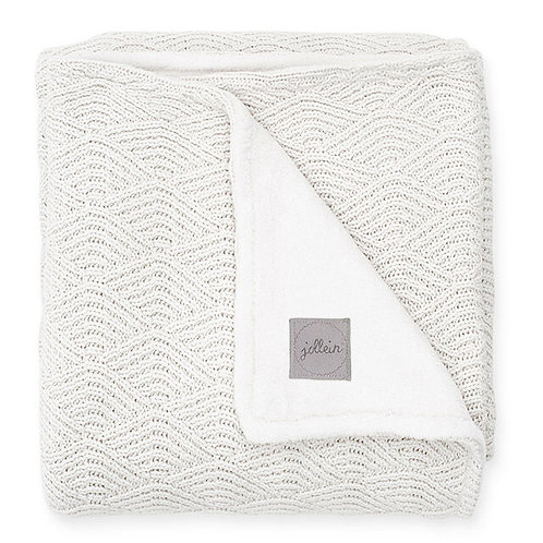 (09) Couverture tricot River knit (white/coral)
