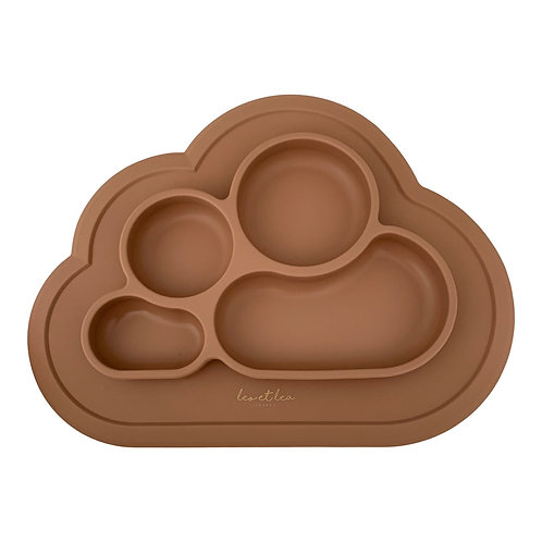 Plate with compartments silicone (camel)