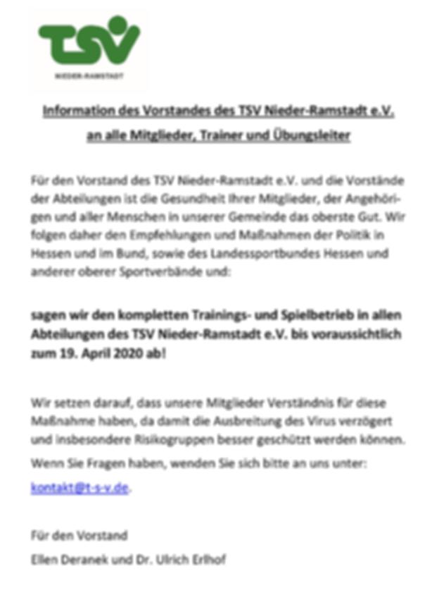 Information des TSV Nieder-Ramstadt wb.