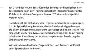 Trainingsbetrieb für Kinder unter 15 Jahren draußen  ab 15.03.2021 möglich!
