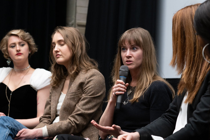 Mandy Work Wetzel speaking during the Q&A at the Women of The Now Anniversary showcase. 📸 by Grace Pisula