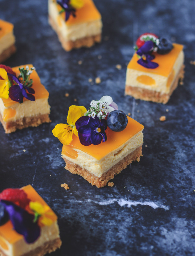 Mango and passion fruit no bake vegan cheesecake