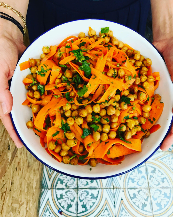 Roasted chickpeas with carrots