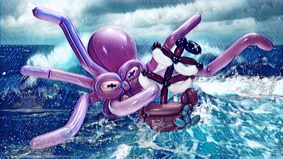 Kraken giving a pirate ship a cuddle