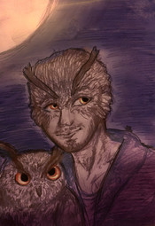 Owl man and his pet