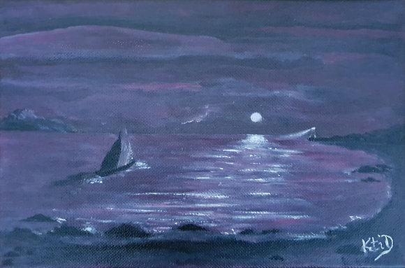 Mer Lune Phare Voilier, tons violine