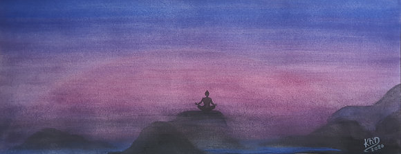 Ambiance zen dégradé de bleu, rose, mauve...