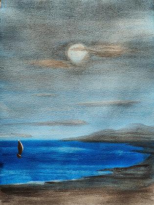 Aquarelle Clair de lune