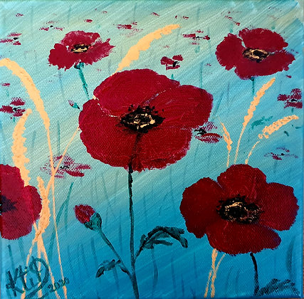 Coquelicots fond turquoise et or