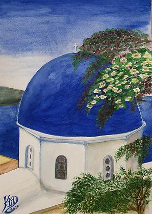 Santorini :  Oïa, et Thirassia en fond - Grèce