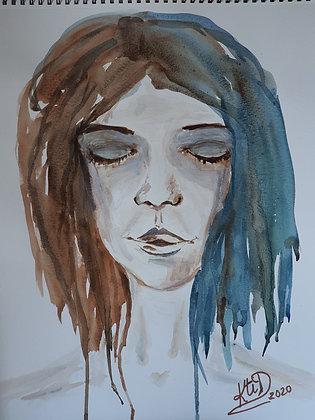 Femme aux yeux fermés Aquarelle