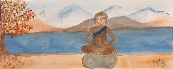 Bouddha, ambiance zen, tons automnales