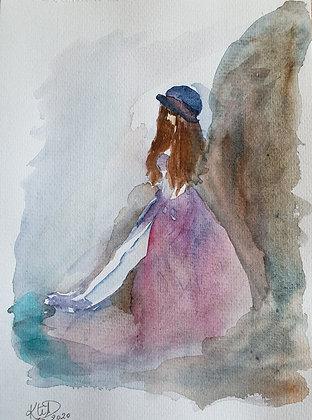 Jeune fille adossée au rocher