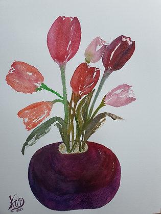 Tulipes et leur vase rond
