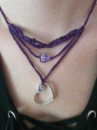Collier crochet violet et Coeur