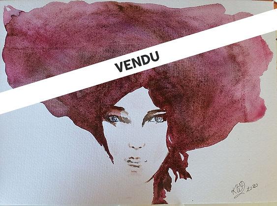 Aquarelle Portrait femme chevelure prune