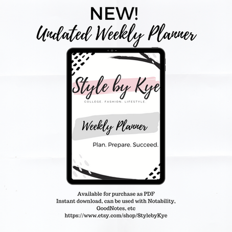 New! Undated Weekly Planner!