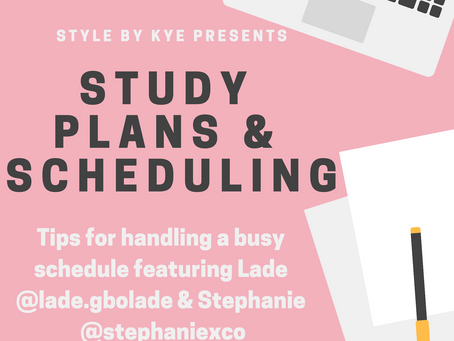 Study Plans and Scheduling