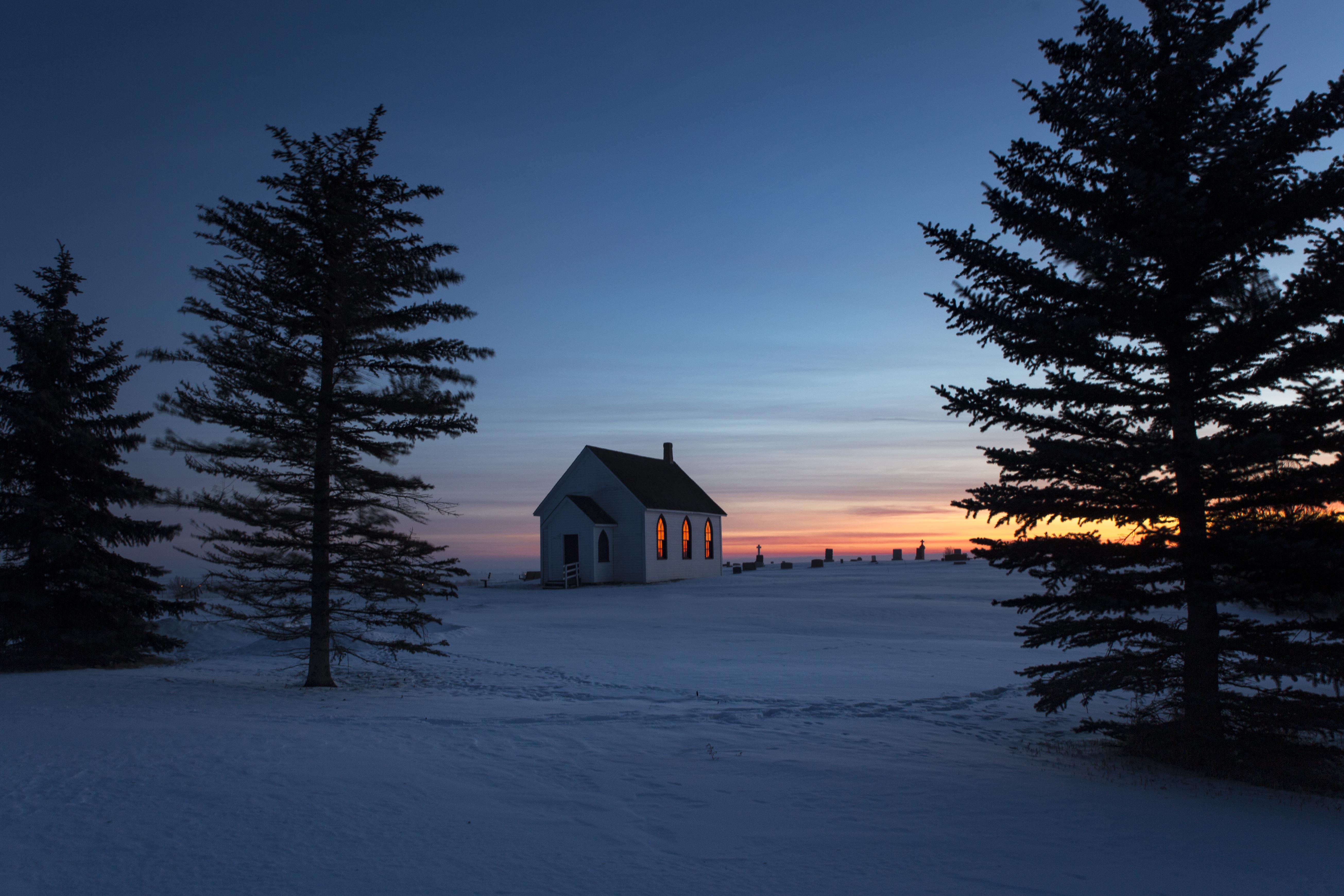 Little church at sunrise