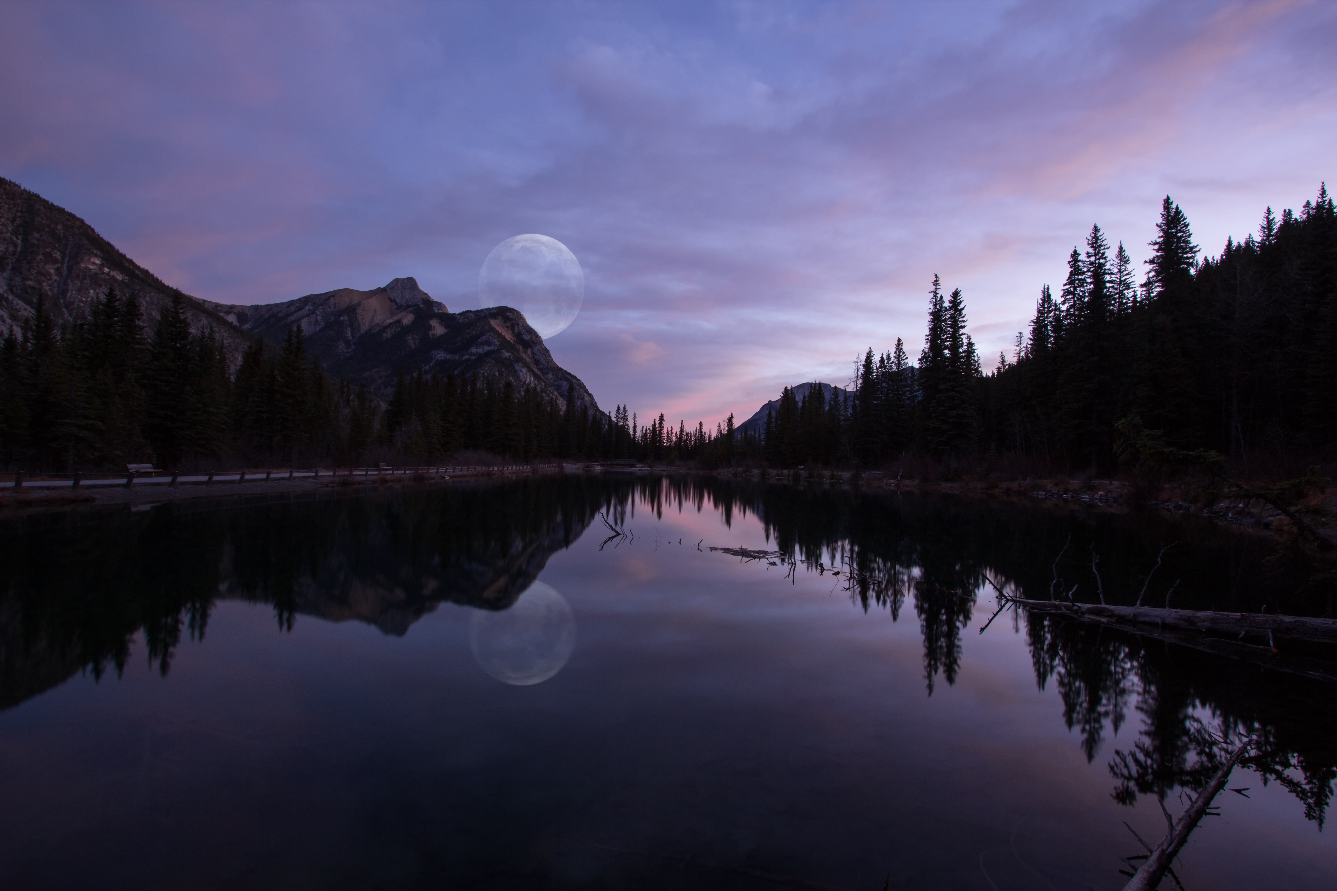 Moon over Mt Laurette Ponds