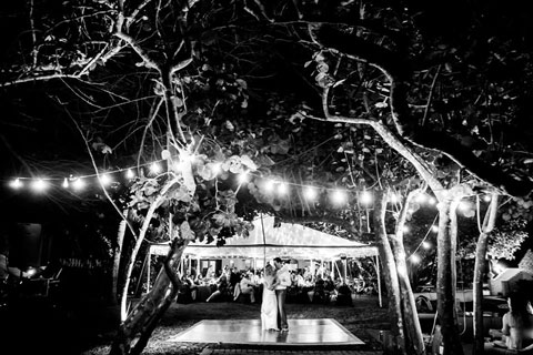 Wedding reception on beachfront