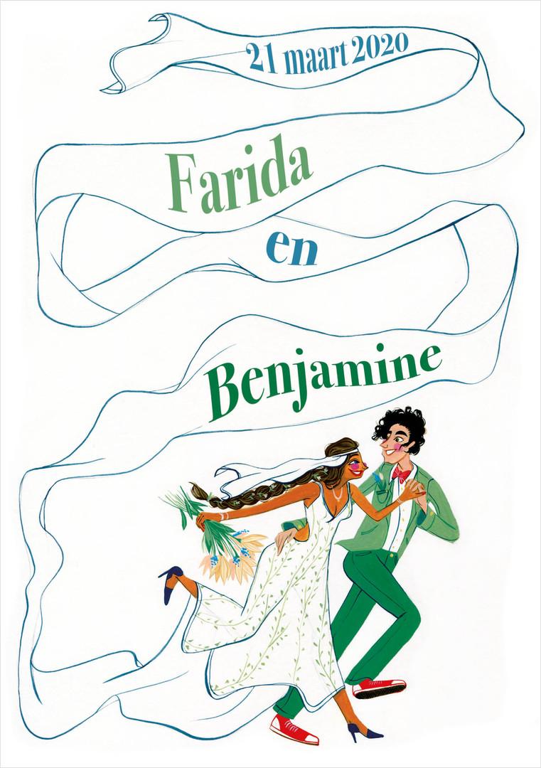 Trouwuitnodiging Farida & Benjamine