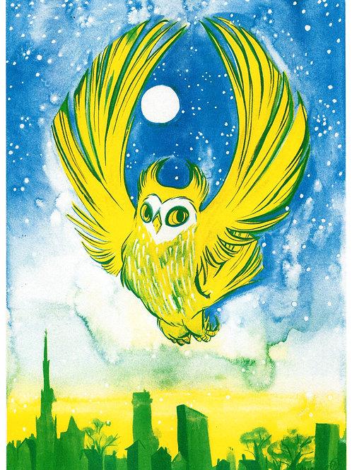 City Owl - Riso print A4
