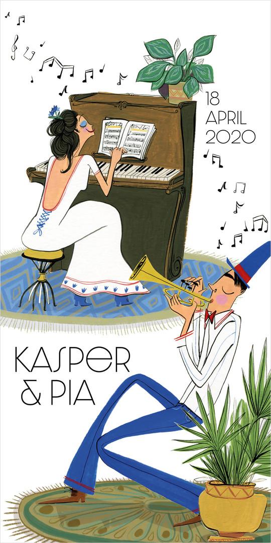 Trouwuitnodiging Kasper & Pia