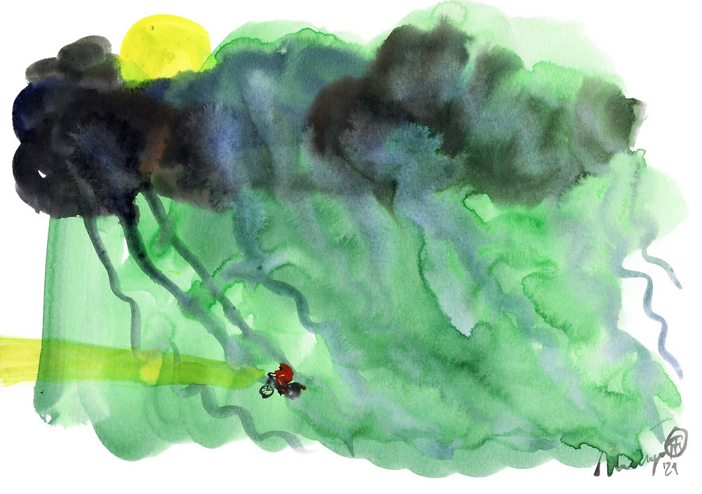 An illustration made with acrylic ink. The image is made on a horizontal orientated A4. From the top left corner to the bottom, you see a yellow sun, hidden behind think grey, blue, dark clouds. Below the clouds it is raining, blue, long strokes on a green background. In between the rain strokes, more to the bottom left of the image, is a tiny biker. Making their way in the rain, wearing a red raincoat. The light of is bike shines, yellow, like the sun.