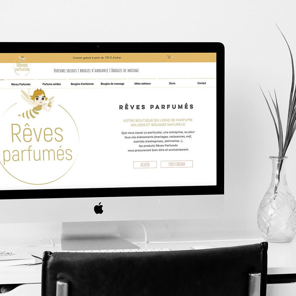 projet création site pour rêves parfumés par Lacky Agence Web expert wix