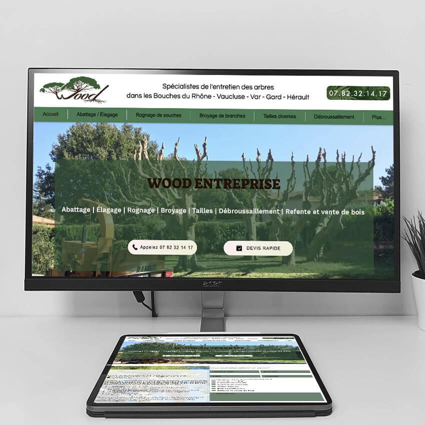 Création de site pour Wood Elagage - Spécialistes de l'entretien des arbres I l'Agence Web Lacky I