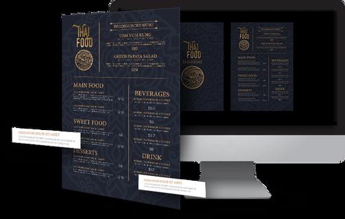 creation impression menu restaurant