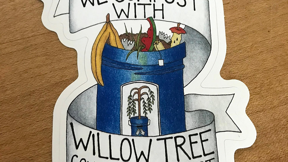 """We Compost With Willow Tree Community Compost"" sticker"