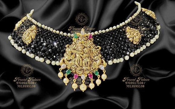 Beautiful RADHAKRISHNA Pendant with Black diamond Crystals-6.000g