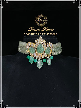 Russian Emeralds Czs and Kundans Choker . Wt-11.500 gms
