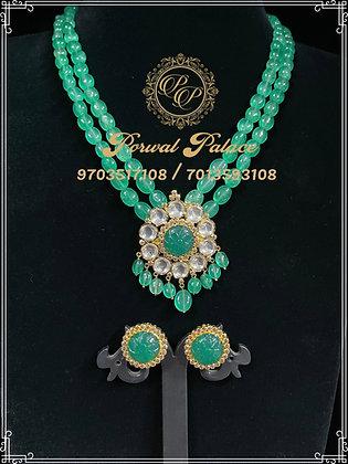 Emeralds Kundan Pendant + Tops Set . Wt-9gms