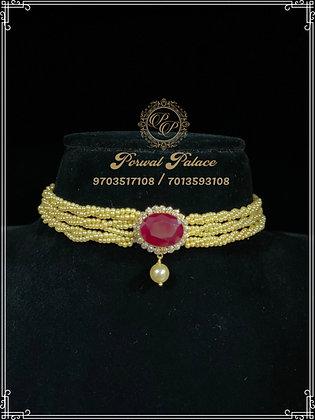 Ruby Pearls Choker . Wt-2.300 gms
