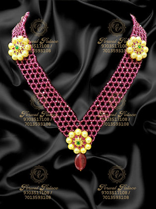 Beautiful LightWeight Long Chain with SouthSea pearls and Ruby Crystals-6.700g