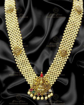 Beautiful Light Weight LAKSHMI SOUTH SEA PEARLS Necklace With NAVRATHNA-7.200G