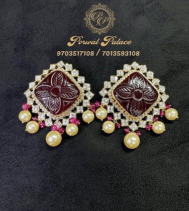 Grand Ruby Earings . Wt-13 gms
