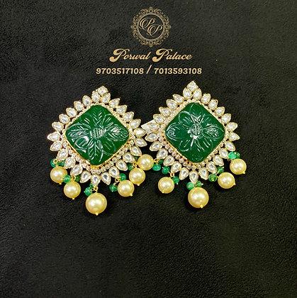Grand Emerald Earrings . Wt-12.500 gms