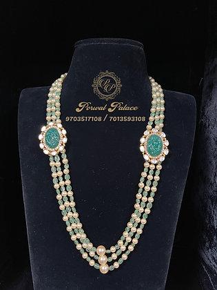 Emeralds Lakshmi Devi Carving Stone Layer mala -9.500gms