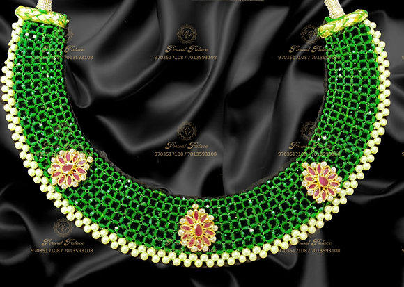 Beautiful Light Weight Ruby Emeralds Crystals Necklace - 6.300g