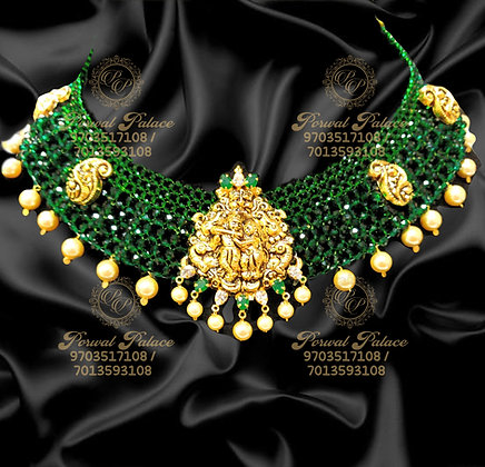 Beautiful RADHAKRISHNA Necklace with High Quality Emeralds Crystals-7.100g