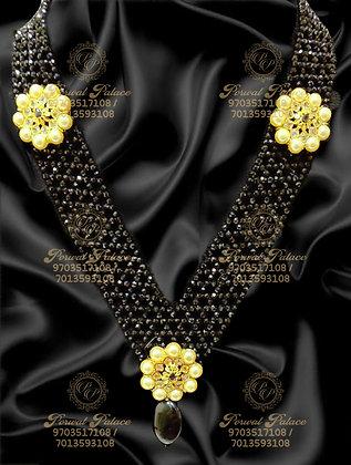 Beautiful Lightweight Black Diamond Crystals With South Sea Pearls Haram-5.700g
