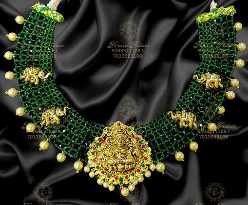 Beautiful Light Weight GAJA LAKSHMI EMERALDS Crystals Necklace-10.800GMS