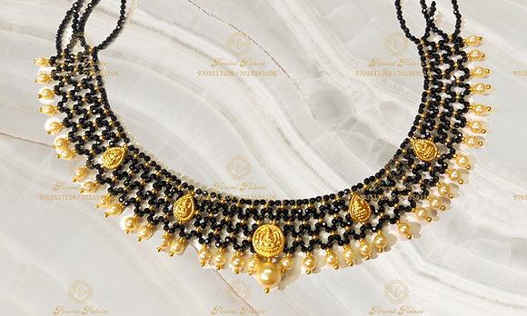 Beautiful Ultra Lightweight Lakshmi KASU Black diamond Crystals Mesh Neck-3.400g